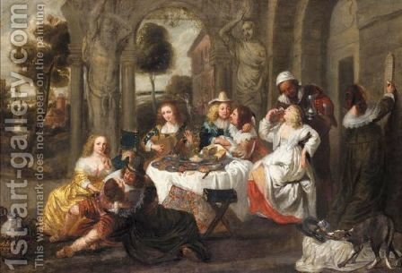 An Elegant Company Feasting Before A Classical Villa by (after) Simon De Vos - Reproduction Oil Painting