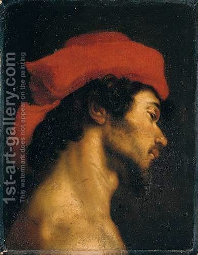 The Head Of A Young Man In Profile, Wearing A Red Hat by (after) Cristofano Allori - Reproduction Oil Painting