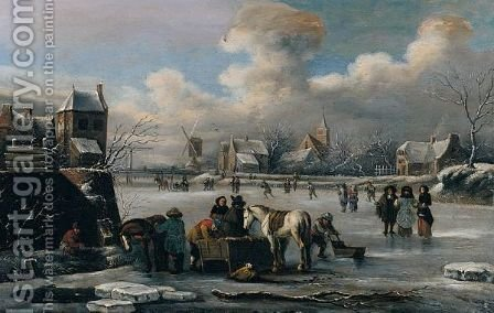 A Winter Landscape by (after) Thomas Heeremans - Reproduction Oil Painting