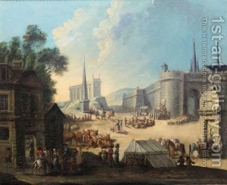 A Capriccio Scene With A Shop In The Foreground And A Market Before Town Walls by (after) Gherardo Poli - Reproduction Oil Painting