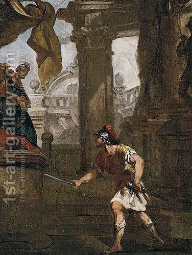A Classical Subject With A Figure Drawing His Sword Before A King by (after) Giovanni Antonio Pellegrini - Reproduction Oil Painting