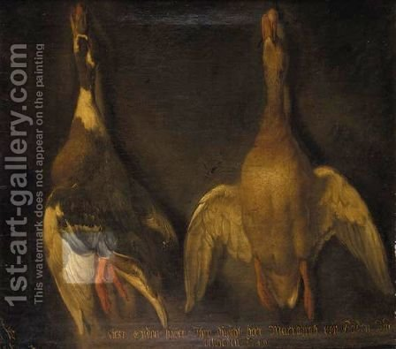 A Still Life Of Two Hung Ducks by Heinrich Lihl - Reproduction Oil Painting