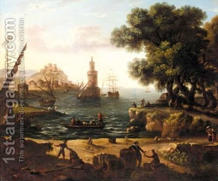 A Mediterrenean Harbour Scene by (after) Claude Lorrain (Claude Gellee) - Reproduction Oil Painting