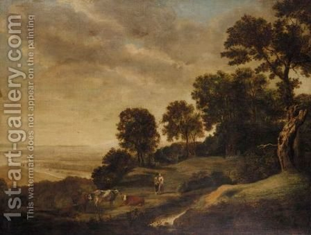 Extensive Landscape With Rustics And Cattle by (after) Alexander Nasmyth - Reproduction Oil Painting