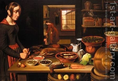 A Kitchen Interior by (after) William Novice - Reproduction Oil Painting