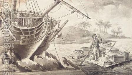 Drawing From The Life And Adventures Of Robinson Crusoe by (after) Dodd, Daniel - Reproduction Oil Painting
