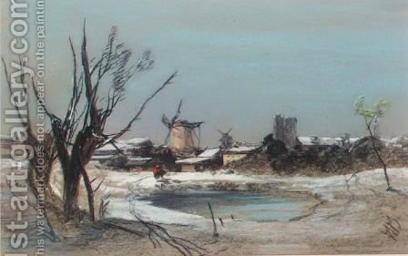 Winter Landscape With Windmill by Henry Bright - Reproduction Oil Painting