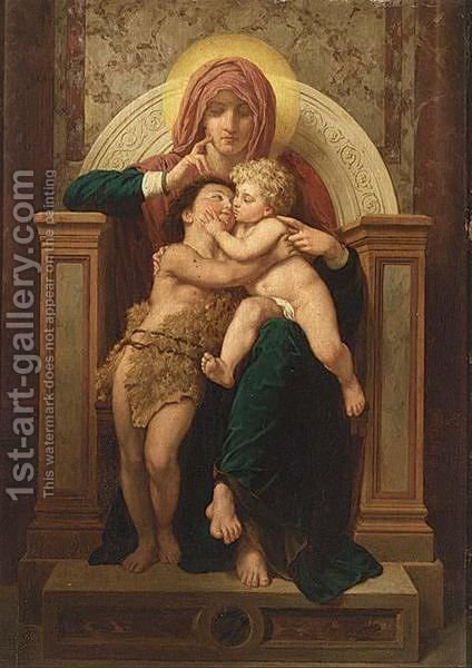 Madonna, Christ And St. John The Baptist by (after) William-Adolphe Bouguereau - Reproduction Oil Painting