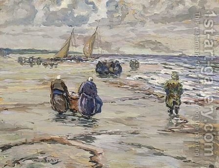 Return Of The Fishing Boats At The Beach by Hans Von Bartels - Reproduction Oil Painting