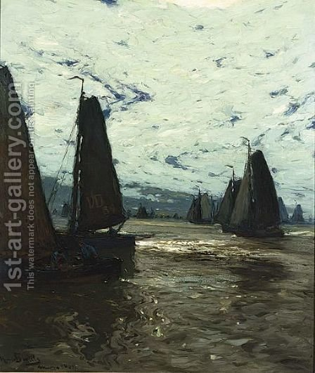 Volendam Vessels Sailing At Dusk by Hans Von Bartels - Reproduction Oil Painting