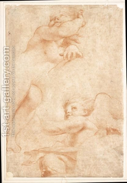 Studi Dal Correggio Due Putti by (after) Francesco Maria Rondani - Reproduction Oil Painting
