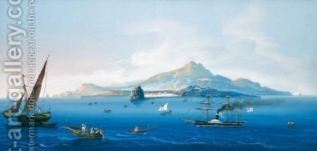 Isola D'Ischia Dal Mare by (after)  Leopoldo D'esposito - Reproduction Oil Painting