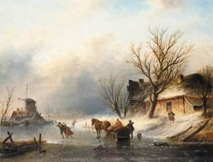 Famous paintings of Ice skating: Figures Skating On A Frozen River Near A Windmill