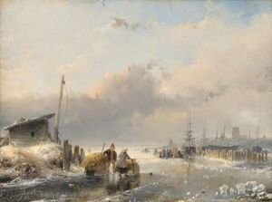 Famous paintings of Ice skating: View Of Dordrecht