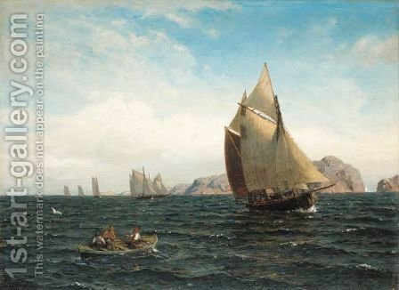 Seilbater Pa Fjorden (Sailing Off The Norwegian Coast) by Hans Fredrik Gude - Reproduction Oil Painting