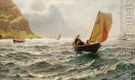 Pa Solfylte Bolger (Upon Sunny Waves) by Hans Dahl - Reproduction Oil Painting