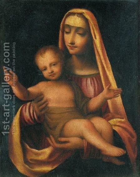 Madonna Col Bambino by (after) Bernardino Luini - Reproduction Oil Painting