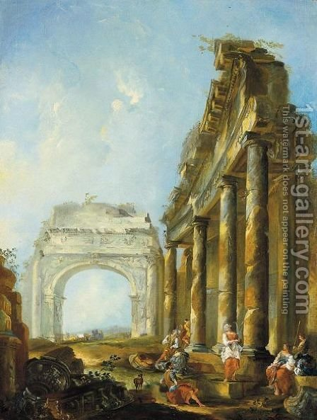 Paesaggio Con Rovine Architettoniche E Figure by (after) Giovanni Paolo Panini - Reproduction Oil Painting