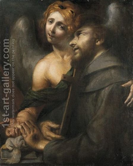 San Francesco Confortato Dall'angelo by Italian School - Reproduction Oil Painting