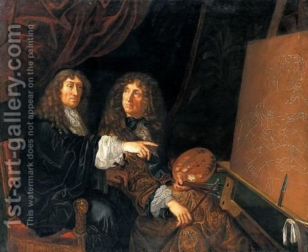 Doppio Ritratto Di Henry E Charles Beaubrun Al Cavalletto by Italian School - Reproduction Oil Painting