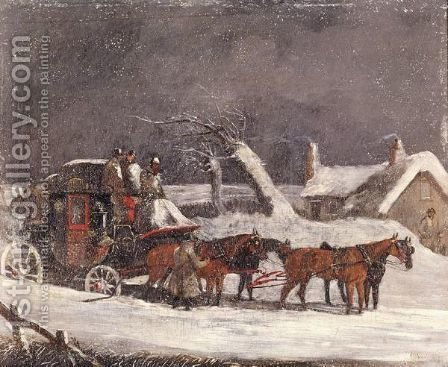 The Dover To London Coach At A Halt By A Cottage In The Snow by (after) Henry Alken - Reproduction Oil Painting