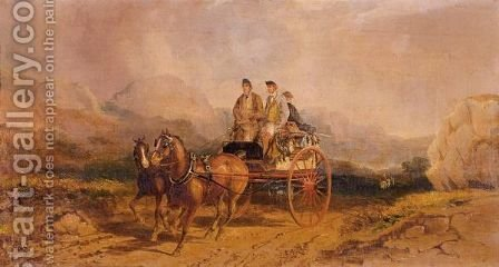 A Shooting Party In A Carriage In The Scottish Highlands by Henry Thomas Alken - Reproduction Oil Painting