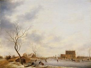 Famous paintings of Ice skating: A Winter Landscape With Skaters