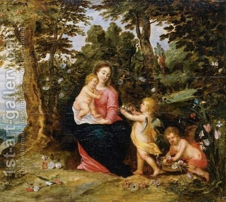 Virgin And Child With Two Angels In A Landscape by (after) Jan, The Younger Brueghel - Reproduction Oil Painting