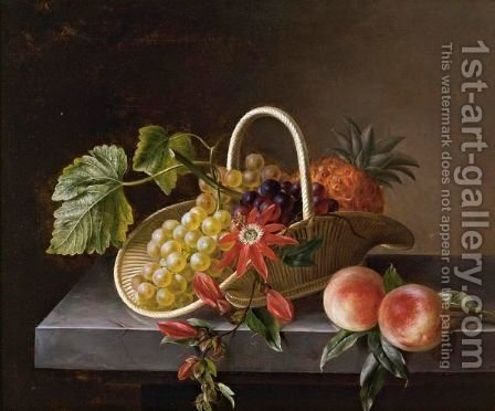 Still Life Of Fruit And Flowers In A Basket And Peaches All Resting On A Marble Ledge by Hanne Hellesen - Reproduction Oil Painting