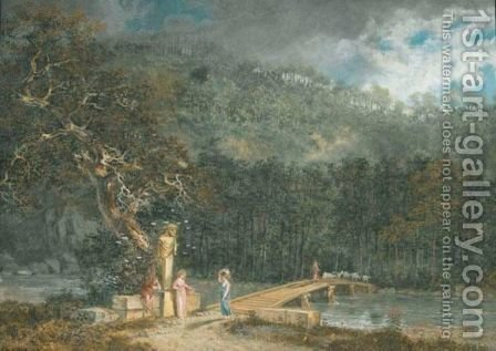 Arkadische Landschaft, 1783 by Salomon Gessner - Reproduction Oil Painting