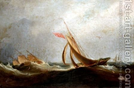 English Shipping In A Stiff Breeze by (after) Thomas Luny - Reproduction Oil Painting