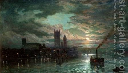 The Thames At Night by (after) Walter Meegan - Reproduction Oil Painting