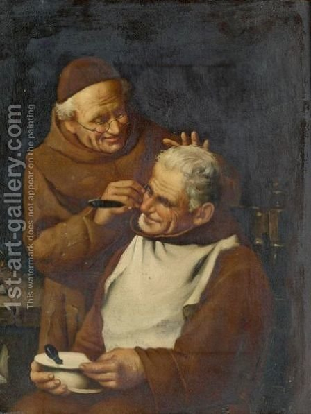 A Close Shave by Italian School - Reproduction Oil Painting