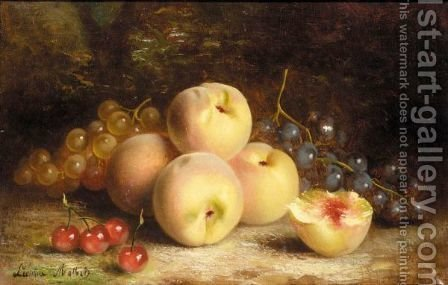 Still life with peachs by Alexei Alexeevich Kharlamov - Reproduction Oil Painting