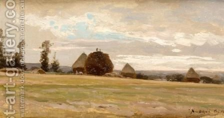 Haystacks by Iosif Evstafevich Krachkovsky - Reproduction Oil Painting
