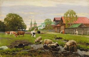 Reproduction oil paintings - Aleksandr Vladimirovich Makovsky - Provincial Russian Village