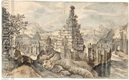 Fantasy Mountain Landscape With Buildings And Ruins by (after) Gillis Van Coninxloo - Reproduction Oil Painting