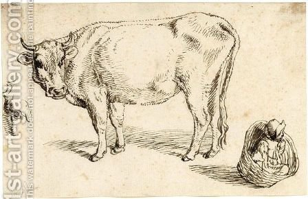 Study Of A Cow, A Part Of A Cow's Head And A Child In A Basket by (after) Jacob De II Gheyn - Reproduction Oil Painting