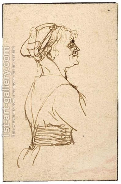 Profile Study Of A Woman, Half Length by (after) Rembrandt Van Rijn - Reproduction Oil Painting