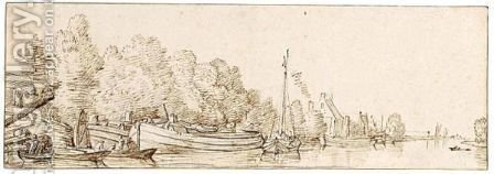 River View, Possibly On The Vecht by (after) Jacob Esselens - Reproduction Oil Painting