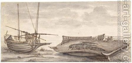 Two Boats On The Shore, One Of Them Wrecked by (after) Jan De Momper - Reproduction Oil Painting