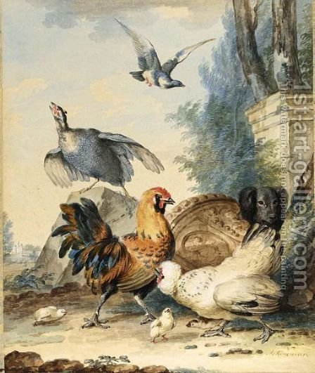 A Cockerel, Hen And Chicks, With A Guinea Fowl And A Dog By A Ruined Column, A Castle In The Distance by Aert Schouman - Reproduction Oil Painting