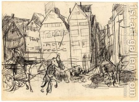 Street Scene With A Horse And Carriage by Isaac Israels - Reproduction Oil Painting
