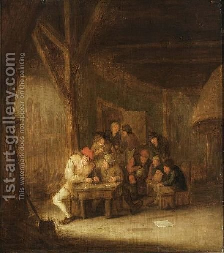 A Tavern Interior With Peasants Smoking And Drinking by (after) Pieter De Bloot - Reproduction Oil Painting