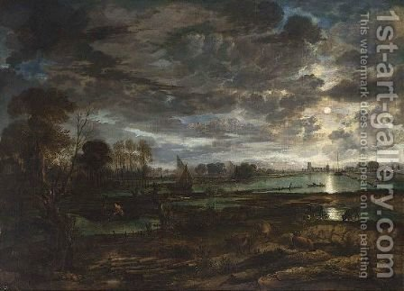 An Extensive River Landscape By Moonlight With Fishermen And Cows In The Foreground by Aert van der Neer - Reproduction Oil Painting