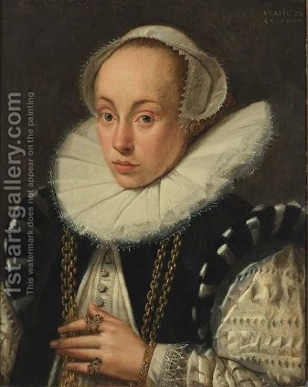 A Portrait Of A Lady, Aged 28, Bust Length, Wearing A Black And White Dress With A Lace Collar, A White Headdress, Gold Necklace And Jewellery by Gortzius Geldorp - Reproduction Oil Painting