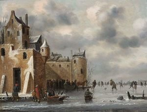 Famous paintings of Ice skating: A Winter Landscape With Skaters And A Horse-Drawn Sleigh Near Town Walls