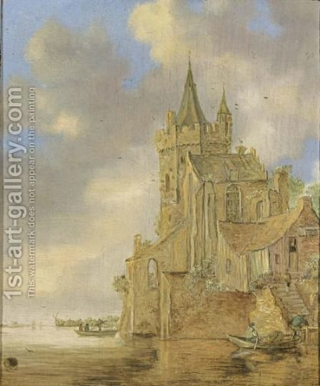 A Fortified Town On A River With Rowing Boats In The Foreground by (after)  Jan Van Goyen - Reproduction Oil Painting