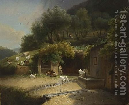 A Wooded Hilly Landscape With A Shepherd Resting In A Grotto With His Herd And A Donkey, Near A Fountain With Another Shepherd In The Background by (after) Joseph Augustus Knip - Reproduction Oil Painting