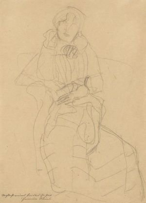 Reproduction oil paintings - Gustav Klimt - Seated Lady From The Front, Study For The Portrait Of Marie Henneberg